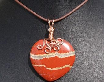 Red Jasper Heart Pendant, Copper Wire Wrap