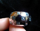 Vintage Ring Chunky Sterling Cubist Ring with Aquamarine Stones 9 - on sale
