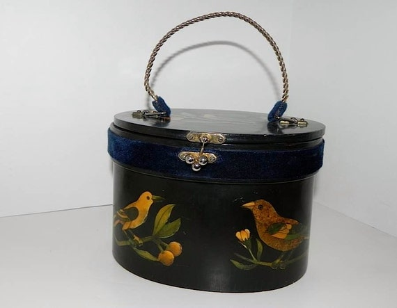 Vintage 50s 60s Black Box HandBag with Birds and Fruit -on sale-
