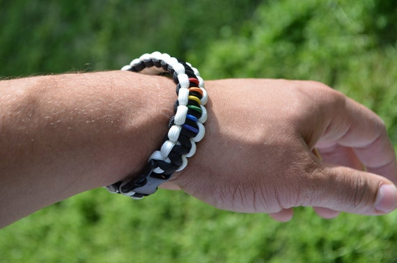 A Side of Pride in Black and White Bracelet with Buckle Clasp