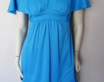 Vtg.70s Cobalt Blue Flutter Sleeves Empire Waist Grecian Mini Dress.S.Bust 36.Waist 32.