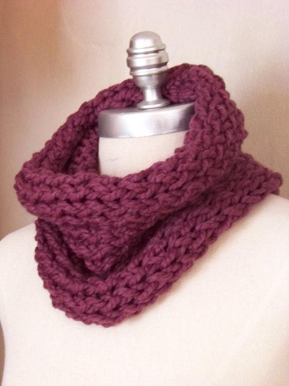 Fig Cowl Neckwarmer Scarf Chunky Knit Wool Blend Mauve, Plum, Purple READY TO SHIP