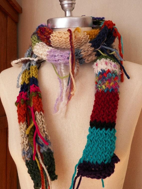 Scrap Yarn Gypsy Bohemian Style Skinny Scarf One of a Kind Sale Priced