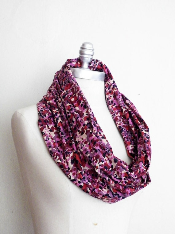 RESERVED ORDER Circle Scarf, Infinity Scarf, Loop Scarf Watercolor Print Wine Purple Navy Pink and Cream
