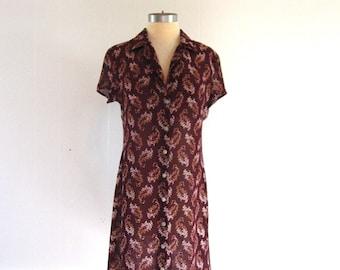 ESPRIT Sheer Plum Paisley and Cream Floral Designer Grunge Dress w/ Buttons size M L
