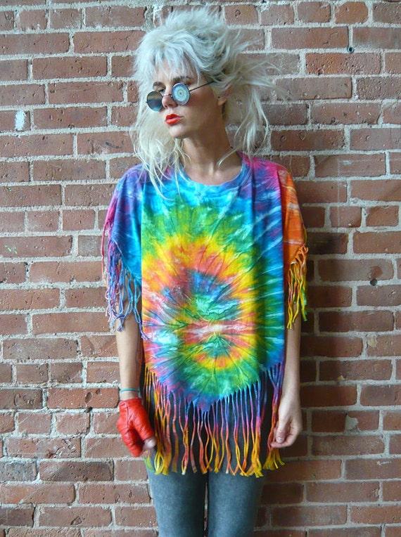 Vintage 90s Tie Dye Fringe Shirt
