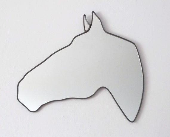 Horse Mirror Left / Handmade Wall Mirror Equestrian Cheval Pferd Caballo Modern Decor Stable Horse Shaped Wall Art