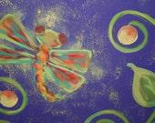 Wall or door decor, Vintage-style handpainted, Lightening Bug or Fire Fly or Dragon Fly, Lavendar, door hanger