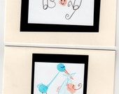 Set of 4 baby cards--Baby Shower, Baby Announcement, Baby Thank Yous--Stork, Boy, Girl, Pink, Blue