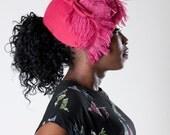 Vintage 1930s Pink Feather Hat - 1940s Helen Joyce Wool - Kentucky Derby Fashions