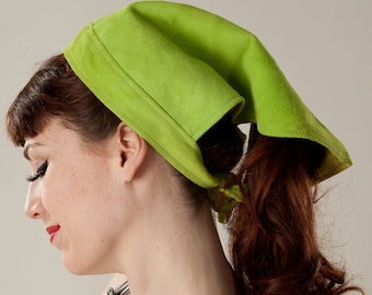 Vintage 1960s Scarf Hat - Chartreuse Green Suede - Summer Fashions