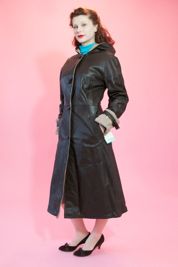 Vintage 1970s Leather Coat Tweed Lining Skirt Scarf Set NWT Fall Fashions