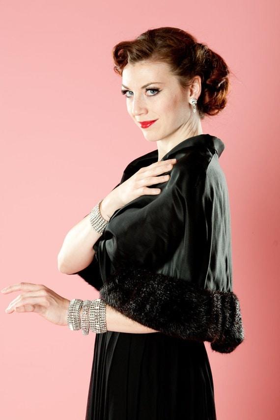 Vintage 1950s Mink Fur Wrap Black Satin Stole Emily Wetherby Bridal Fashions