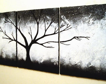 Original painting abstract triptych landscape large painting impasto wall canvas art black white Modern Palette Knife Painting 20 x 48 ""
