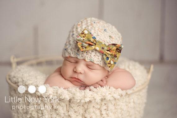 Newborn photo prop, newborn hat, newborn boy, newborn girl, knit newborn hat, newborn props, Newborn beanie with color specks and bow,