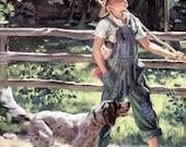 Going Fishing Boy with Dog Downloadable, Printable Digital Art Image