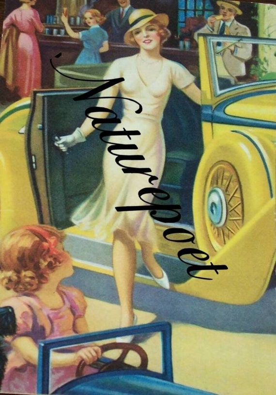 Digital Art Image of Lady in front of Vintage Car, Instant Download, Autumobilia, Supplies, Scrap Booking, Decoupage, Tote Making,