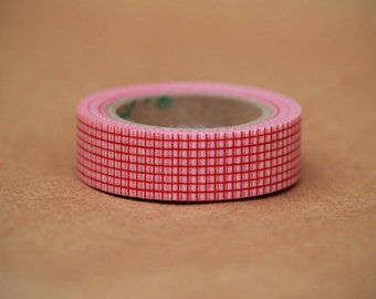 Cherry Grid Washi Tape-  Single Roll 15 mm
