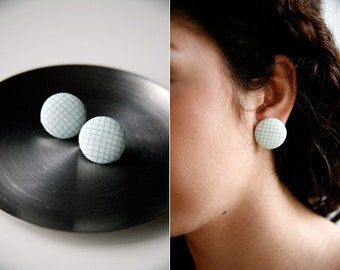Nickel-Free Fabric Button Earrings - Graph Paper