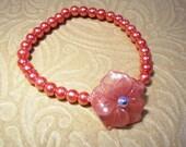 Carved Flower Cherry Quartz and Glass Pearl Bracelet