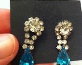 Vintage Costume Jewelry Pierced Earrings, Rhinestones, Bue Teardrops