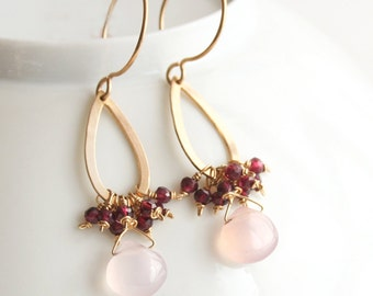 Pink Earrings, Gemstone Jewelry, Gold Earrings