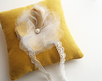 Yellow Ring Pillow, Rustic Wedding, Ring Bearer Pillow, Ring Pillow