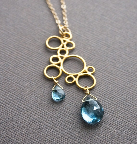 Blue Topaz Necklace, December Birthstone, Gemstone Jewelry