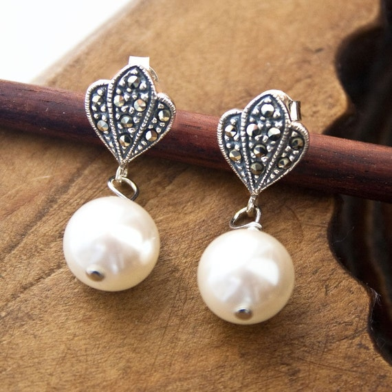 Petite Pearl Earring, Bridal Jewelry, Marcasite Jewelry