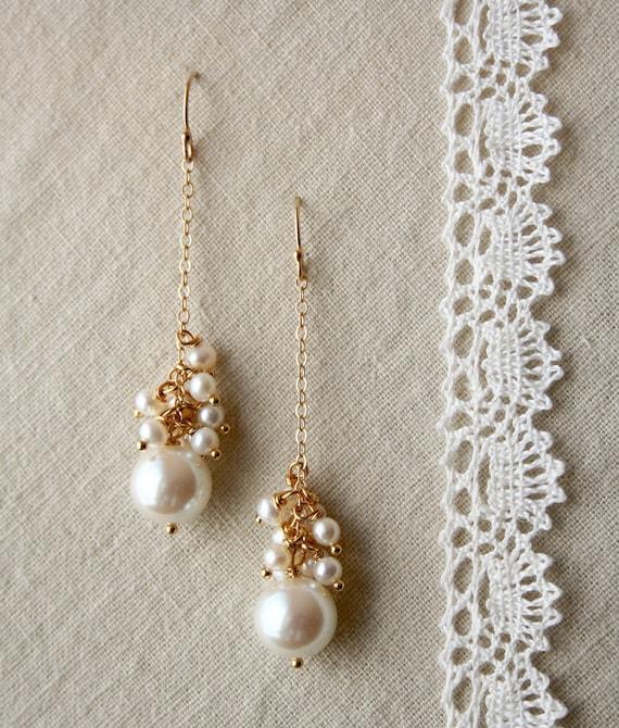 Pearl Drop Earrings, Bridal Jewelry, Wedding Earrings