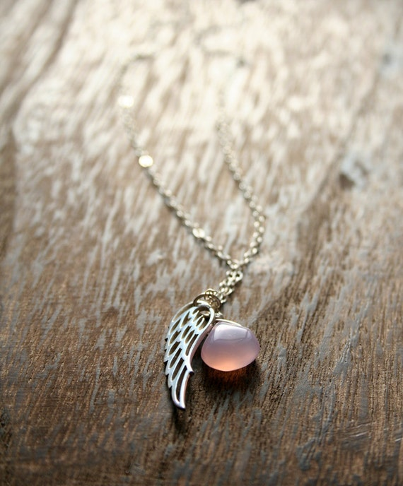 Angel Wing Necklace, Silver Jewelry, Pink Necklace