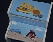 Kids Construction Site Bulldozer Dump Truck and Digger Childrens 2 Step Stool