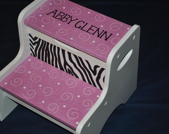 Step Stool - Stool - Kids Step Stool -  Hot Pink Zebra Striped Swirlly Polka Dot Childrens Step Stool