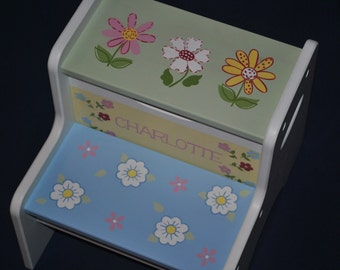 Kids Personalized 2 Step Stool - PB Multi Floral
