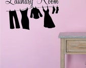 The Laundry Room w Clothesline Vinyl Wall Decal Lettering