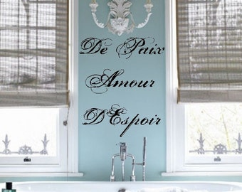 French Peace Love Hope Vinyl Wall Lettering Decal