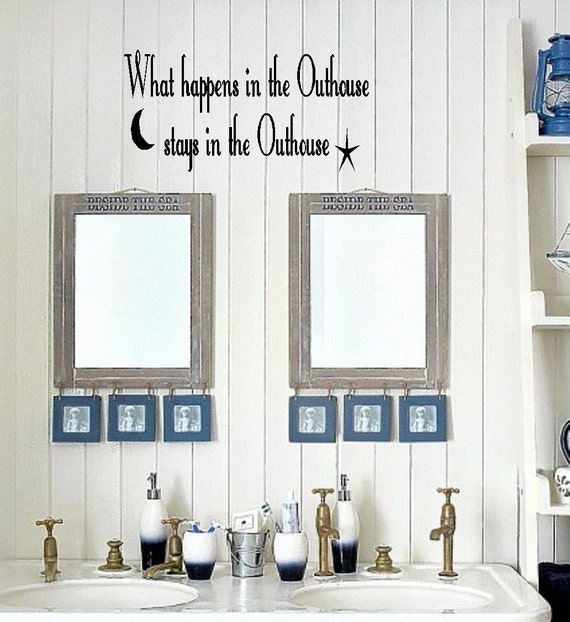 Items similar to outhouse bathroom vinyl wall decor for Outhouse bathroom ideas
