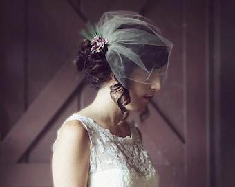 Wedding Veil, Birdcage Veil, Tulle Blusher, White, Ivory, Blush, Champagne - LORNA