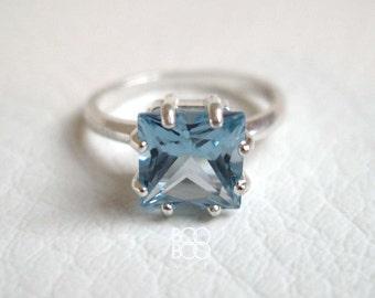 Aquamarine Ring - Sterling Silver Ring