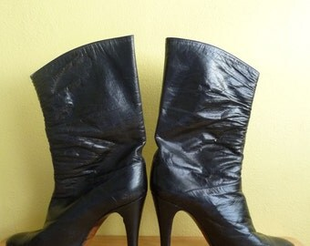 designer italian black leather boots, Vittorio Ricci