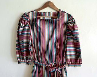 vintage rainbow stripe dress, small medium