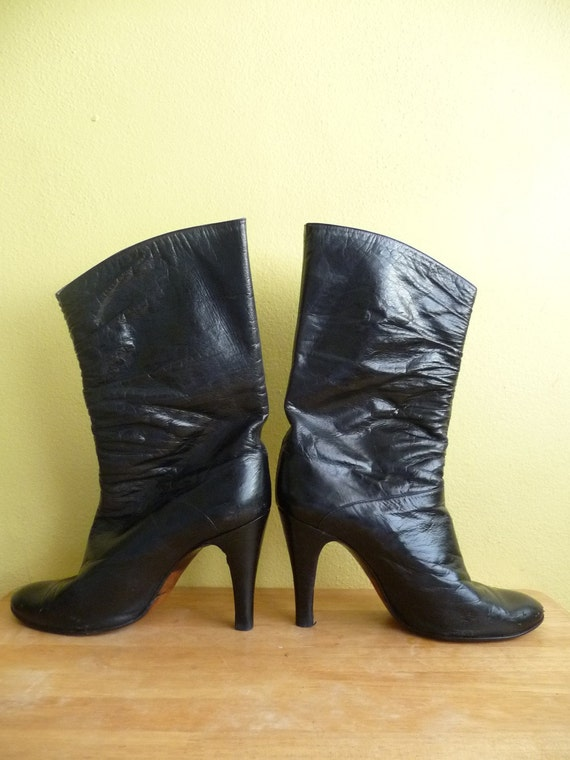 designer italian black leather stiletto boots made in italy