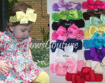 Pick your colors Set of 5 Hairbows with matching interchangeable Headbands  Hairbow headbands with interchangeable crochet headbands