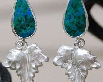 Chrysocolla Malachite Azurite Teardrop Fine Silver Leaf Handmade Earrings