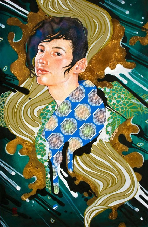Large Original Japanese Painting Mixed Media Art by JUURI Size 36x24 with COA