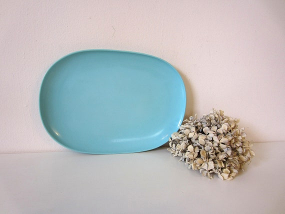 Turquoise Melamine Serving Platter, Tray, 1960s kitchen, rv, camper plate