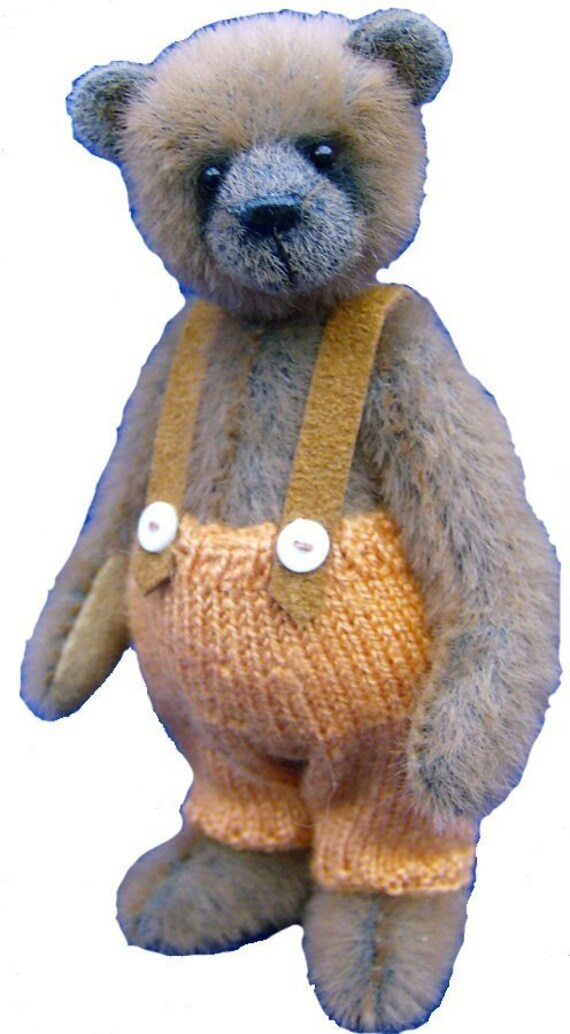 Miniature knitting pattern trousers for a teddy bear
