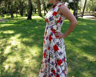 1970s Summer Maxi Empire Dress with Bold Red Triangles and Violet Flowers Medium