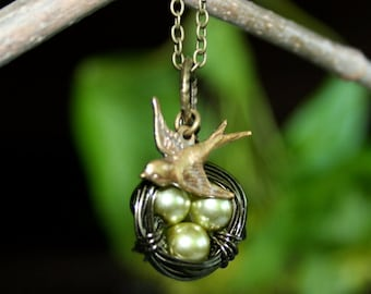 Bird Nest Necklace -Three Olive Eggs with Sparrow Bird