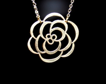 Gold Flower  Necklace - Chrysanthemum Necklace